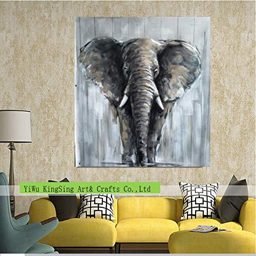 WSNDGWS Pintado a Mano Animal Pig Elephant Decoración del hogar Pintura al óleo C2 30x30cm