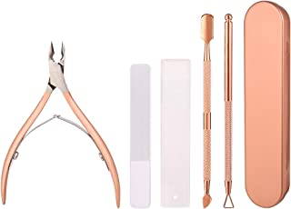 Herqw61 3 Pcs Cuticle Pusher Remover Set, Professional Stainless Steel Cuticle Pusher Skin Remover for Hands Manicure Toe ...