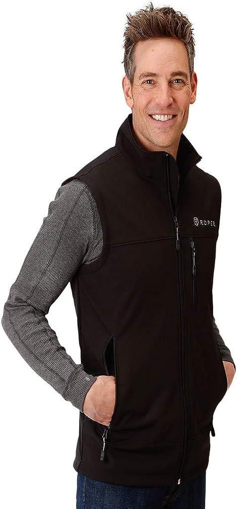 Roper Western Vest Mens Zip Fleece Bonded Black 03-097-0782-7004 BL