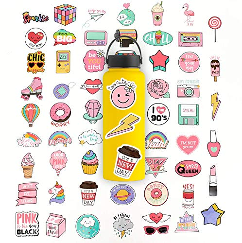 60 Stickers Pack | Hydro Flask Stickers, Cute Waterproof Vinyl Stickers for Teens and Girls, Unique Aesthetic Durable Decal Stickers, Cool and Trendy Stickers for Water Bottles, Hydro Flask, Phone