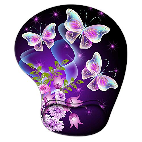 Butterfly Purple Flower Mouse Pad with Wrist Support, Ergonomic Gaming Mousepad Non-Slip Soft Sensitive Material, Cute Mouse Pads for Wireless Mouse as Home Office Desktop Accessories or Ideal Gift