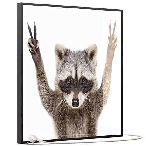 STEINFELD Heizsysteme® Glas Bild Infrarotheizung mit Thermostat | Made in Germany | viele Motive 350-1200 Watt Rahmen schwarz (350 Watt, 066 Waschbär)
