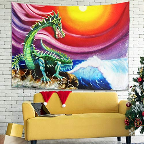 Tapiz de pared Anime japonés, verde dragón azul ola sol Ukiyoe impresión de fondo de cabecera místico blanco 230 x 150 cm