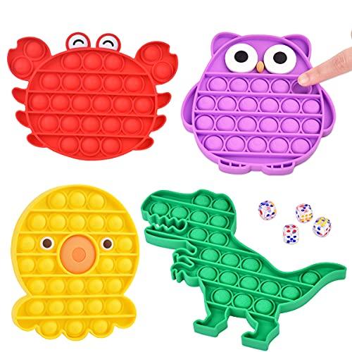 Giocattolo Sensoriale Silicone per Bambini Giocattolo Educativo, Giocattolo da Dito per Bambini, Giocattolo Antistress per Adulti, Portabicchieri 4 Modelli Animali Dinosauro Polpo Granchio Gufo