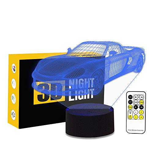 Leisurely Lazy Sports Car Shape 3D Optical Illusion Lamp 7 Colors Change Touch Button Sensitive and 15 Keys Remote Control LED Night Light Toys