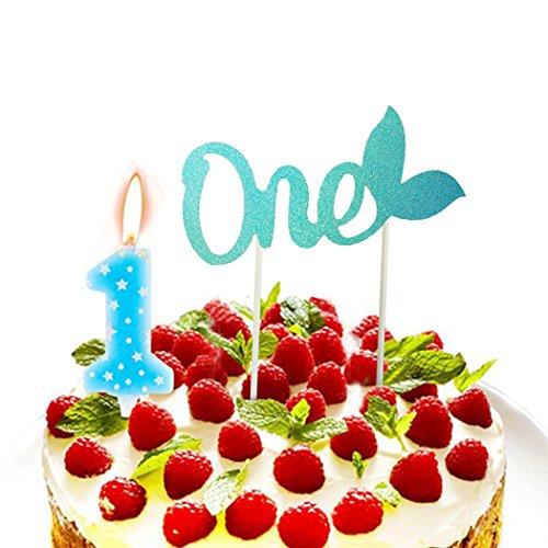 Funpa Cake Topper, Decoratieve zeemeerminstaart One aantal taart topper decoratie cake vlag voor eerste verjaardag blauw