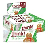 think! Protein+ 150 Calorie Bars - Gingerbread Limited Edition, 10g Protein, 5g Sugar, No Artificial Sweeteners, GMO Free, 1.4 oz bar (10 Count)