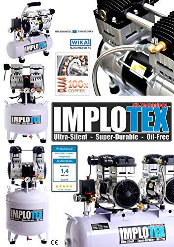 480W Silent Flüsterkompressor Druckluftkompressor 48dB leise ölfrei Kompressor inkl. Ausblaspistole und Druckluftschlauch IMPLOTEX - 4