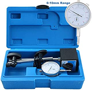 DASBET 110Lbs Magnetic Base with Fine Adjustment, 0-10mm Range Dial Indicator in Strong Carry Box