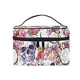 Mr.XZY Bolsa de maquillaje con diseño de calavera con estampado de flores y esqueleto para cosméticos y atrapasueños, portátil, con cremallera, bolsa de aseo para mujeres y niñas 2010134
