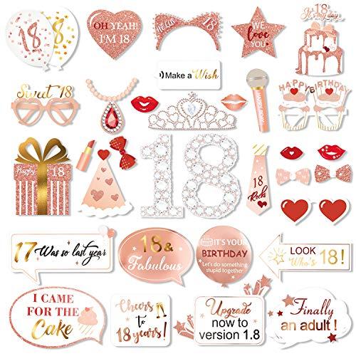 Qpout Roségold 18 Geburtstag Photo Booth Kit,Sweet 18 Requisiten Funny Chic Sweet 18 Foto Requisiten mit Sticks für Mädchen 18 Alles Gute zum Geburtstag Party