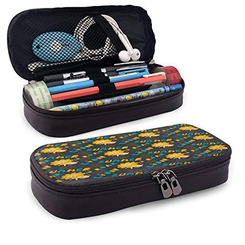 Kawaii - Estuche de piel con diseño de león de girasol, gran capacidad, para estudiantes, papelería, bolsa de almacenamiento