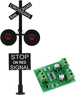 JTD877RP 1 Set HO Scale Railroad Train/Track Crossing Sign 2 Heads LED Made + Circuit Board Flasher-Flashing Red Train Stop Signal Lights Decoration Party