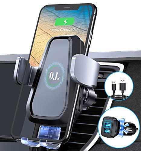 VANMASS 15W Fast Wireless Charger Auto Handyhalterung Motor Betrieb Qi Ladestation Auto Kit mit QC 3.0 Auto Ladegerät & Lüftungshaken für Alle Qi Smartphone wie iPhone 12/11/XS/XR Samsung S21/S20 usw.