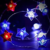 Frienda 4th of July Star String Light, 10 ft 40 LEDs USA American Stars Patriotic Red Blue White String Light Battery Powered Independence Day Decor for Memorial Presidents Day