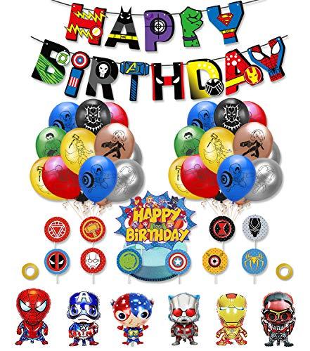 smileh Decoracion Cumpleaños Superhéroes Globos Vengadores Feliz Cumpleaños del Pancarta Adornos de Pastel para Niños Decoraciones de Fiesta Marvel Cumpleaños