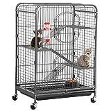 Yaheetech 37'' Metal Cat Kitten Cage Small Animals Hutch w/ 2 Front Doors/Feeder/Wheels Indoor Outdoor,Black