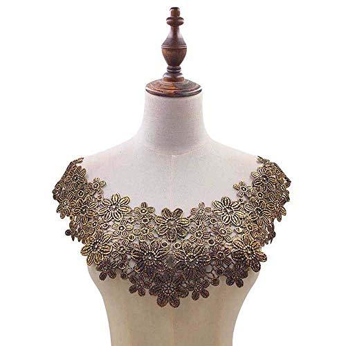 WHK Cuello de encaje, tejido multicolor bordado, estampado floral, corte de tela, scrapbooking (dorado)