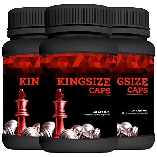 Kingsize Caps | Enlargement Effect | Penis Kapseln extrem Hochdosiert | 20 Kapseln | 3 Dosen