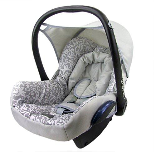 BAMBINIWELT Ersatzbezug für Maxi-Cosi Cabrio Fix 6-tlg, Bezug für Babyschale, Sommerbezug SILBER MOSAIK XX
