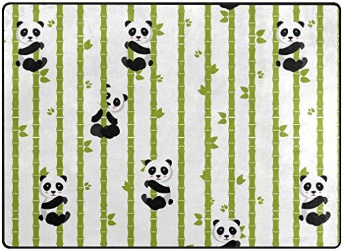 Teppich niedlichen Cartoon Panda mit Bambus Teppiche für Wohnzimmer Schlafzimmer Home Küche Fußmatte 80 x 58 Zoll Runner Personalized Soft