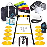Invincible Fitness 20ft. Agility Ladder Set - Includes 10 Cones, 4 Hooks, 5 Loop Bands, Resistance Parachute, Jump Rope, & Carry Bag - Improves Speed, Power, Strength, Weight Loss, & For Physiotherapy