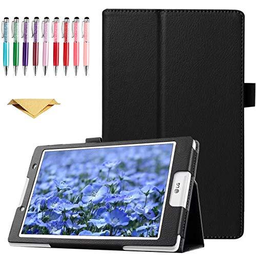 QYiD Hülle für LG G Pad F 8.0 / G Pad II 8.0, PU Leder Leichte Schutzhülle Cover Auto Schlaf/Wach Funktion für LG G Pad F 8.0 V495 / V496 / UK495 und G Pad 2 8.0 V498 8-Zoll Tablet, Schwarz