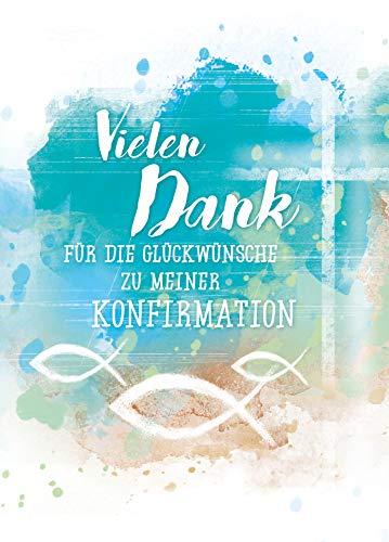 5 x Dankeskarten Konfirmation von KE - Danksagung - Danksagungskarten - Für Jungen & Mädchen - DIN C6-5er Set Klappkarten inkl. Innentext & Umschläge - Motiv: Blau_D
