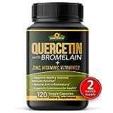 Quercetin with Vitamin C and Zinc - Quercetin with Bromelain - Quercetin 500mg - Zinc Quercetin - 120 Veggie Caps - Quercetin Supplements + Vitamin D3 - (Non-GMO, Gluten-Free, Vegan) 2 Month Supply