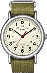 Adjustable olive green 20 millimeter nylon slip-thru strap fits up to 8-inch wrist circumference. The case finish is polished Cream dial with full Arabic numerals; 24-hour military time Silver-tone 38 millimeter brass case with mineral glass crystal ...
