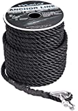 Marine System Made Nylon 3 Strand Anchor/Rigging Line Anchor Rope 3/8 Inch 100FT 150FT Black (3/8' x 150')