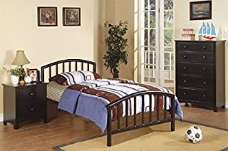 Poundex Full Size Metal Bed in Espresso Finish, Black