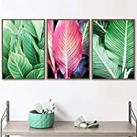(ウォールアート)(キャンバスペインティング)フレッシュピンクグリーンビッグトロピカルリーブスノルディックポスターとプリント写真リビングウォールルーム(70x90cm)3pcsフレームレス