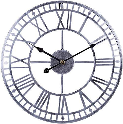 MLL 60 cm Reloj de Pared Vintage Reloj de Pared Grande sin tictac Reloj Silencioso Reloj de Pared de Metal Decorativo para Sala de Estar, Cocina, Oficina y Dormitorio 60 x 60 x 4,5 cm Plata