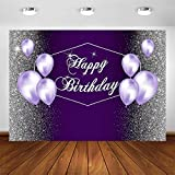 Avezano Silver and Purple Backdrop for Woman Birthday Party Silver Glitter Dots Purple Balloons Happy Birthday Party Banner Photoshoot Photo Booth Decorations Photography Background (7x5ft)
