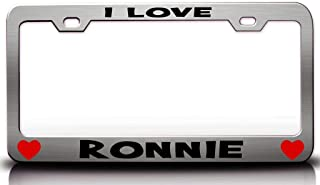 Custom Brother - I Love Ronnie with Hearts Romantic Steel Metal License Plate Frame Ch