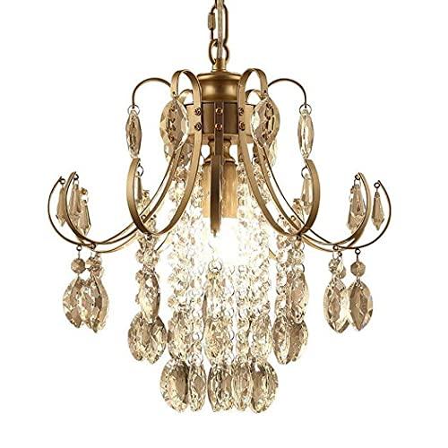 GIOAMH Candelabro de cristal Acabado de bronce antiguo Iluminación de candelabro 1 luz Lámpara de techo de hierro forjado 14 pulgadas,marrón