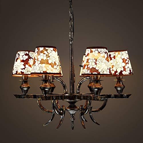 YOULAN Araña de Luces Decorativa Retro Sala Restaurante Cafe lámpara de Hierro de Ropa Tienda de Color de la lámpara Cubierta del paño para Uso en Interiores