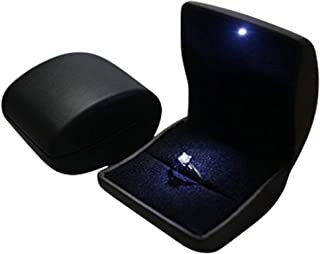 Deluxe Black LED Lighted Engagement Proposal Ring Box Case PU Leather