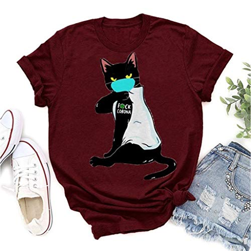 Fun Short-Sleeved Coron_avirus COV_ID-19 T Shirt Mask Cat Personality Print Short-Sleeved T-Shirt (Color : Red, Size : L)