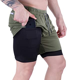 Men's 2 in 1 Running Shorts Quick Dry Workout Athletic...