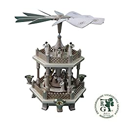 ISDD Cuckoo Clocks German Christmas Pyramid Nativity Scene, 1-Tier, Height 33 cm / 13 inch, Natural, Original Erzgebirge by Richard Glaesser Seiffen
