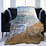 CAPTIVATE HEART Footprints in The Sand Poem,Beach Blanket Soft Blanket Bed Couch Air Conditioning Blanket Throw Flannel Plush,40x50IN.