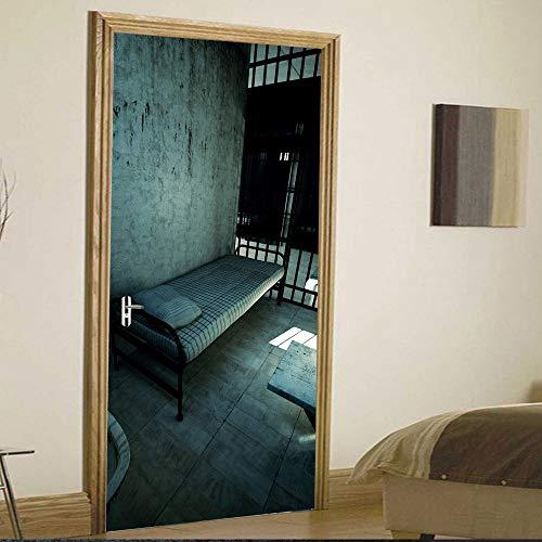 QMTZDQ Türtapete 3D Stereo Gefängnis Kreative Tür Aufkleber Dekoration Wandaufkleber TürPoster,90 * 200CM
