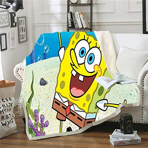 NICHIYO Spongebob Squarepants Wohndecke Kuscheldecke Fleecedecke extra Sofadecke Couchdecke Flauschige Decke Erwachsene Kinder Mikrofaser for Bettcouch und wolldecke (02,150 * 200cm)
