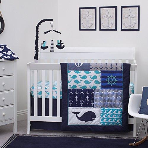 Nautica Kids Set Sail Nautical/Anchor/Whale 4 Piece Nursery Crib Bedding Set, Navy, Aqua, Grey, White