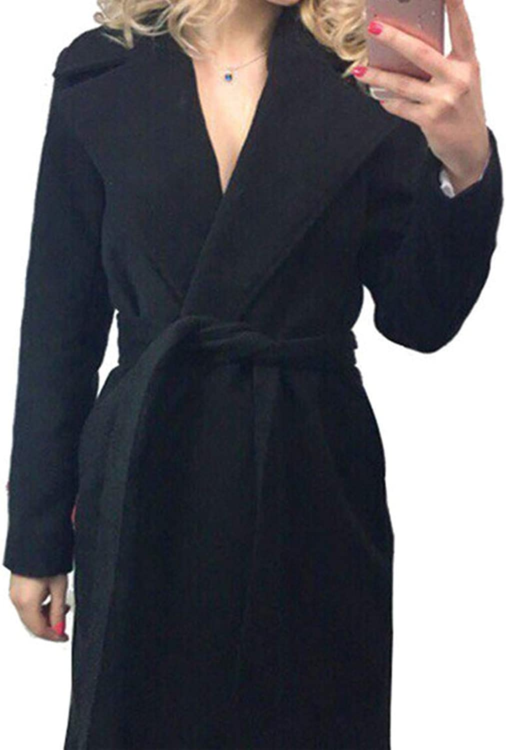 Elegant Long Women's Coat Lapel 2 Pockets Belted Jackets Solid color Coats Female Outerwear