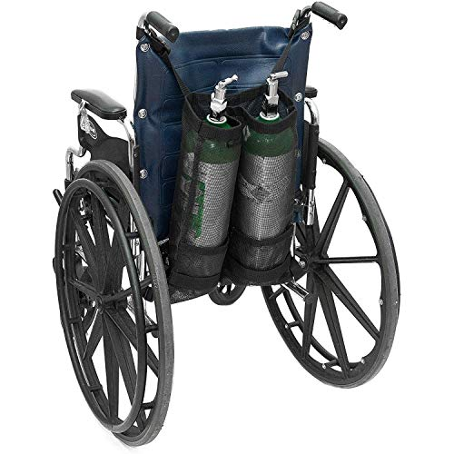 GHzzY Bolsa de Cilindro de oxígeno Doble - Bolsa de Tanque de oxígeno para Silla de Ruedas para Botellas de Cilindros D y E - Soporte de Mochila de oxígeno para Silla de Ruedas y Andador