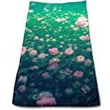 huibe Essuie-Mains Serviettes pour Le Visage de méduses Roses Serviettes hautement absorbantes pour Le Visage, Le Gymnase et Le Spa 30x70 cm