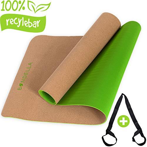 Bondella Ahimsa Premium Kork Yogamatte + Yoga Mat Strap - Yogamatte aus Kork (183x61x0,5) - Yogamatte rutschfest...